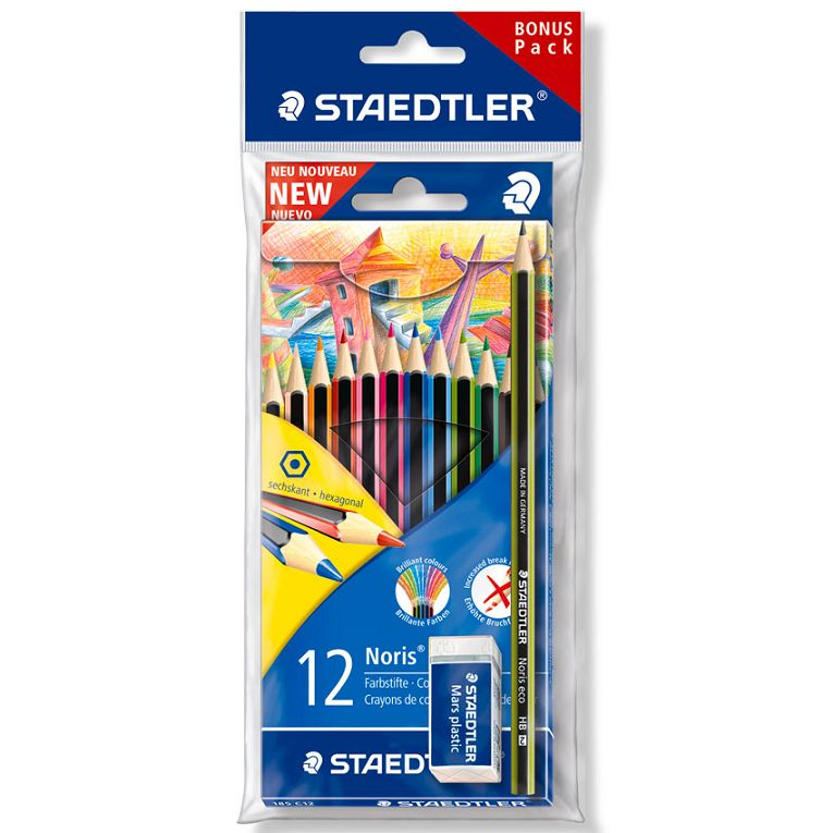 Code 3289541, Désignation: STAEDTLER 12 CRAYONS COULEURS + CRAYON NORRIS + GOMME MARS